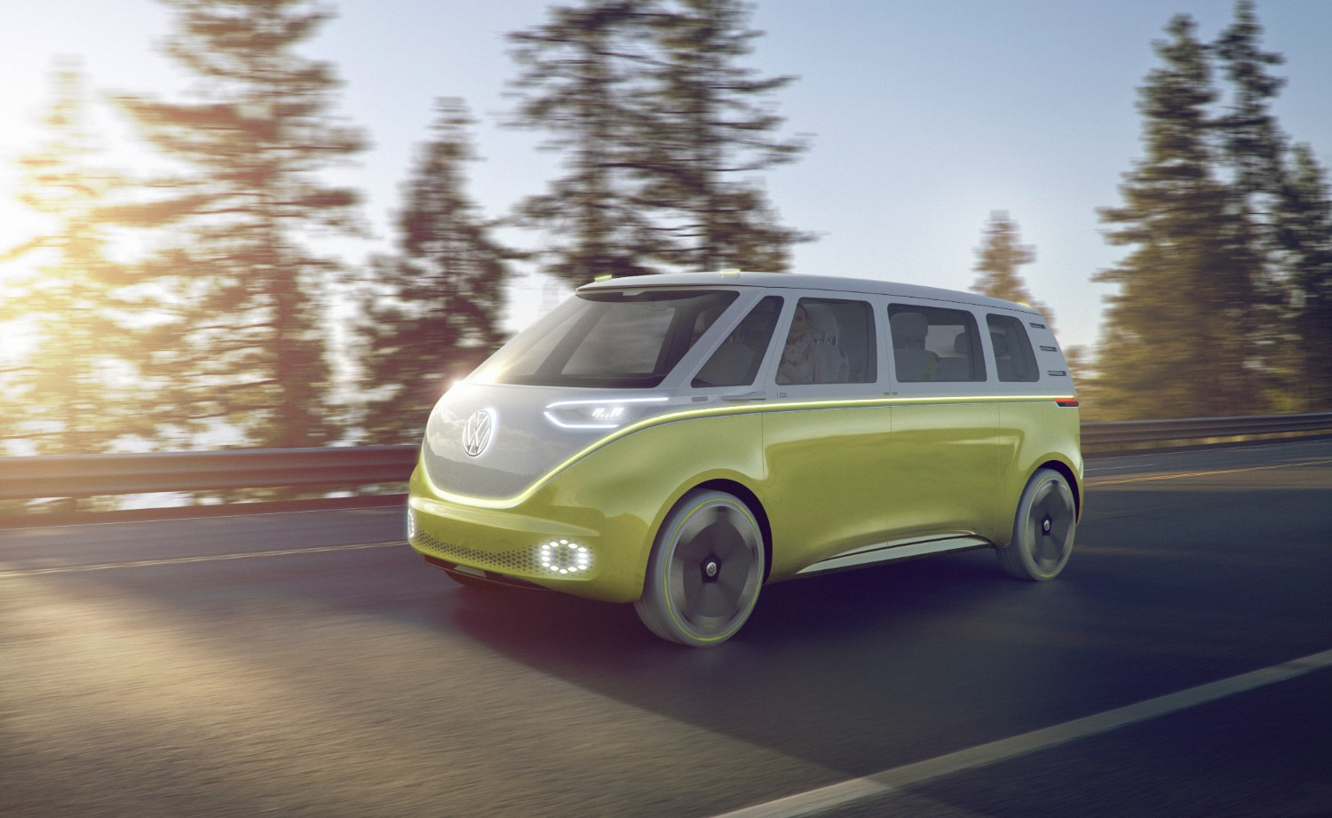 Volkswagen's I.D. Buzz on the road